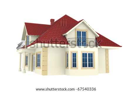 3d house isolated on white background. This is a detailed 3D render. - stock photo