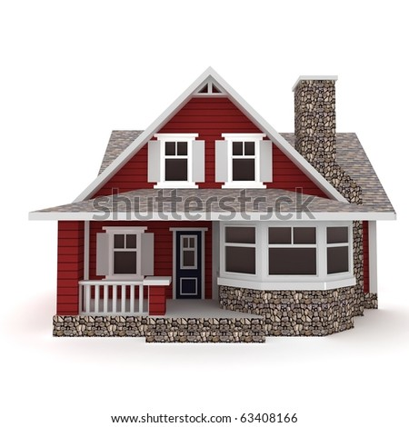3d House Isolated On White Rendered Stock Illustration