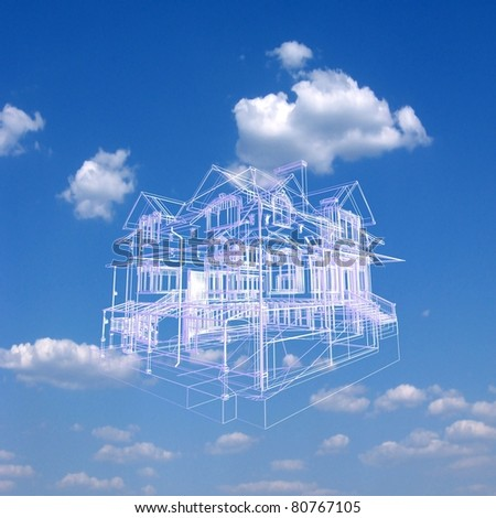 3D house model on beautiful sky background. Concept - eco house. - stock photo