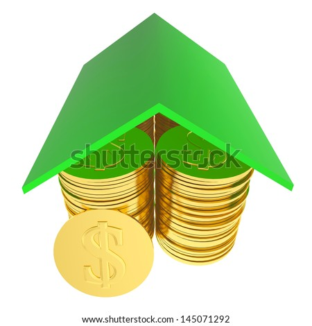 3d house money concept isolated - stock photo