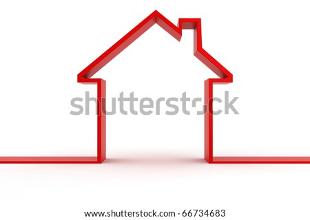 3d house shape metaphor - stock photo