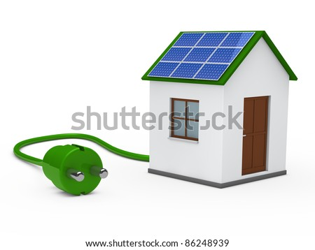 3d house with solar panal plug green - stock photo