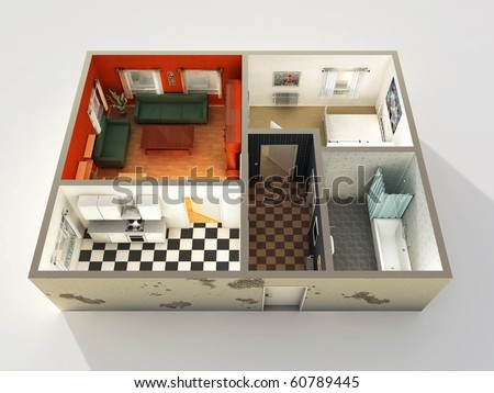 3d Housing Project - stock photo