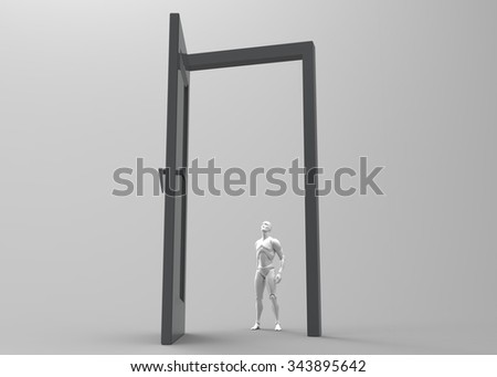 3d human and door 3d white in the open doorway. Isolated render on a white background. - stock photo