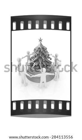 3D human around gift and Christmas tree on a white background. The film strip - stock photo