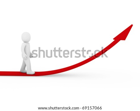 3d human arrow success growth red white business - stock photo