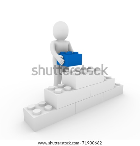 3d human blue stone cube wall puzzle business - stock photo