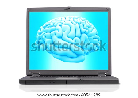 3D human brain on the screen of a laptop isolated over a white background