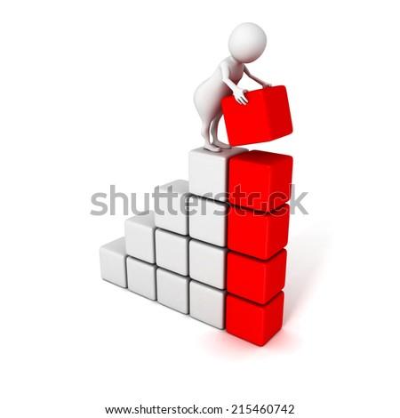 3d human build success business bar chart graph. 3d render illustration - stock photo