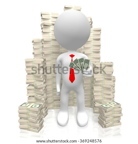 3D human character and dollar bills - great for topics like treasure, being rich, banking etc. - stock photo