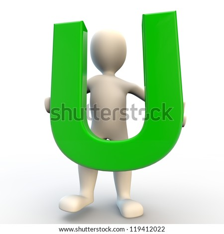 3D Human character holding green letter U - stock photo