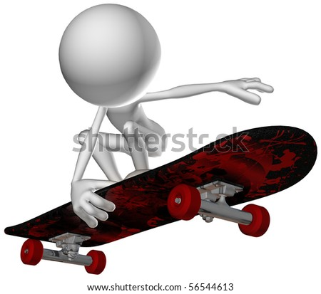 3d human character skate - stock photo