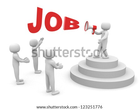 3d human character speaking at megaphone in front of the crowd - stock photo