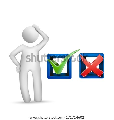 3d human character with check mark symbols isolated on white background - stock photo