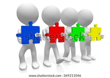 3D human characters holding jigsaw puzzles - great for topics like team, teamwork etc. - stock photo