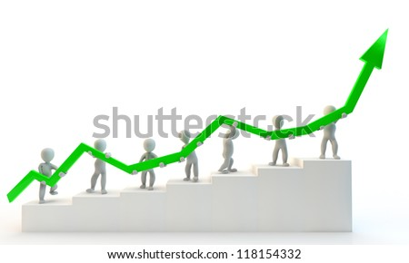 3D Human charcter holding big green arrow, 3d render, isolated on white - stock photo