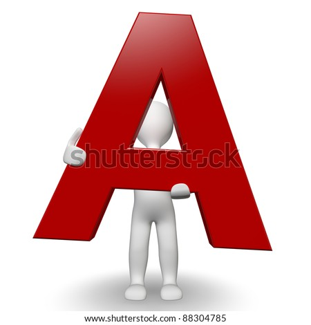 3D Human charcter holding red letter A, 3d render, isolated on white - stock photo