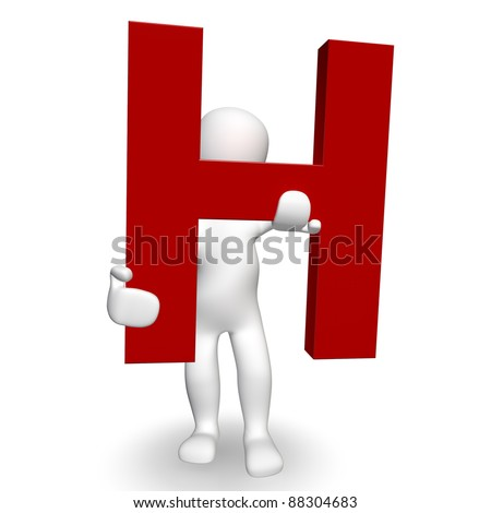 3D Human charcter holding red letter H, 3d render, isolated on white - stock photo
