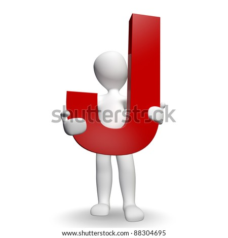 3D Human charcter holding red letter J, 3d render, isolated on white - stock photo