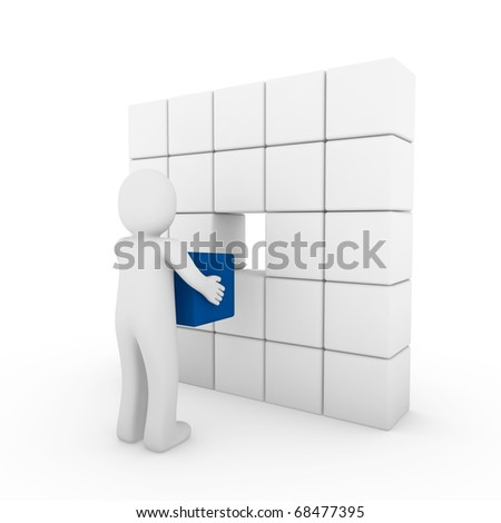 3d human cube blue white success business people isolated - stock photo