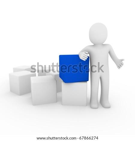 3d human cube box blue white business - stock photo
