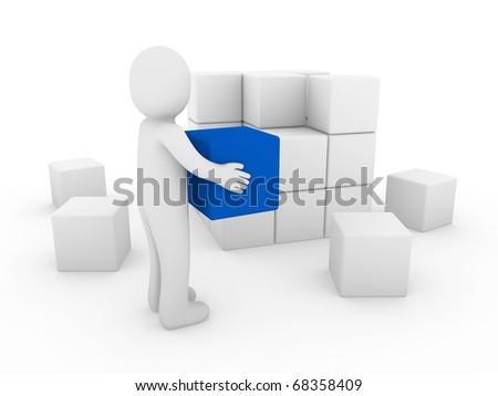 3d human cube box blue white success business isolated - stock photo