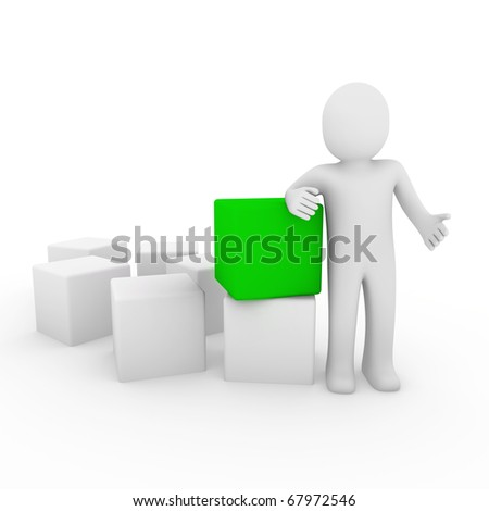 3d human cube box green white business - stock photo