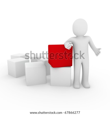 3d human cube box red white business - stock photo
