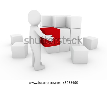 3d human cube box red white success business isolated