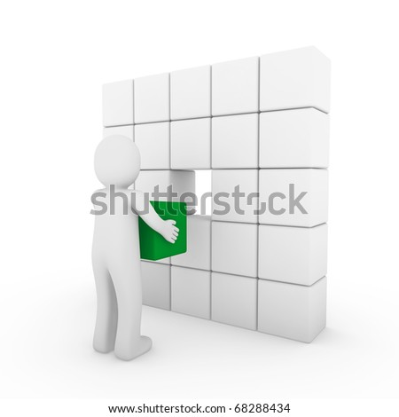 3d human cube green white success business people isolated - stock photo
