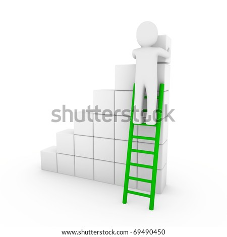 3d human cube ladder green white success business isolated - stock photo