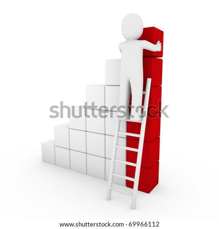 3d human cube ladder red white success business isolated - stock photo