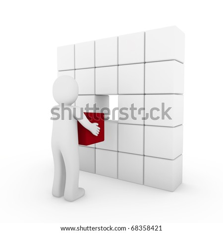 3d human cube red white success business people isolated - stock photo
