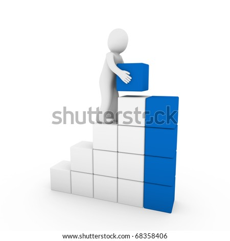 3d human cube tower blue white success business isolated - stock photo