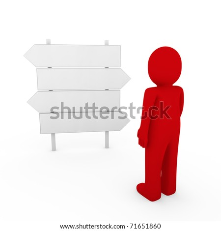 3d human direction sign way red arrow business - stock photo