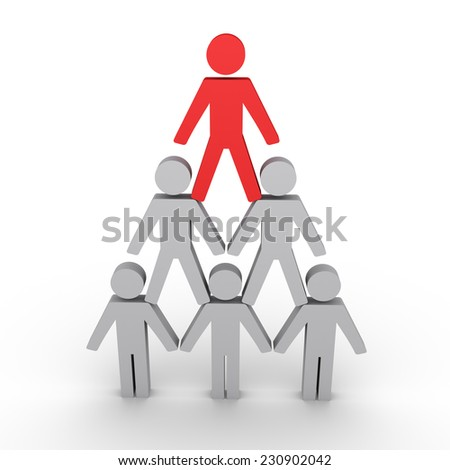 3d human figures form a pyramid and the leader on top - stock photo