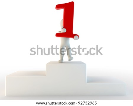 3d human first place, 3d render isolated on white - stock photo