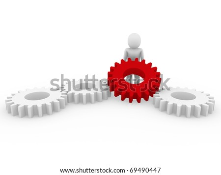 3d human gear red white business isolated background - stock photo