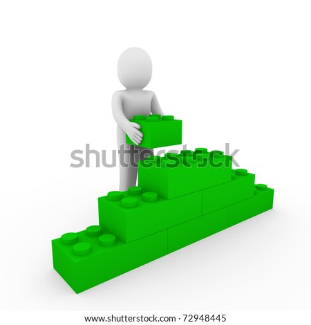 3d human green stone cube wall puzzle business - stock photo