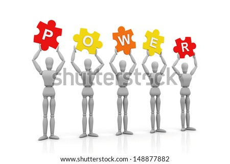 3D Human hand up with Power Sign - stock photo