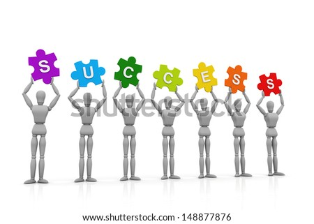 3D Human hand up with Success Sign - stock photo