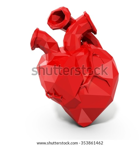 3d human heart with faceted low-poly geometry effect on white background - stock photo