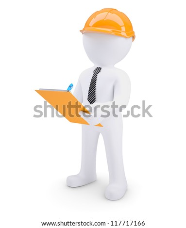 3d human in helmet with a notebook. Isolated on white background