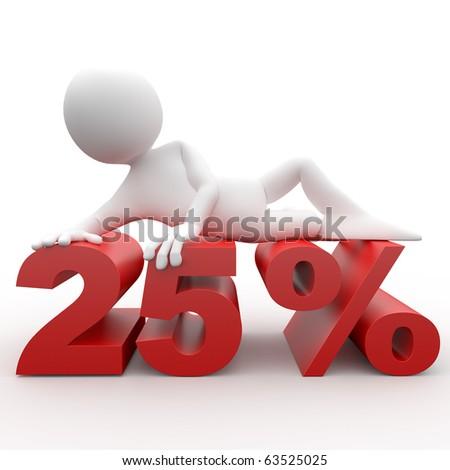 3d human lying in 25 percent - stock photo