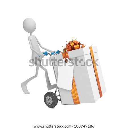 3d Human Moving the Gift Box with Label and Ribbon Bow on Hand Truck. - stock photo