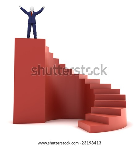 3d human on success stairs - stock photo