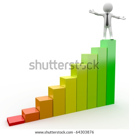 3D Human on top of a bar chart - stock photo