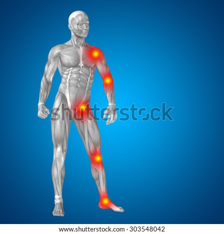 3D human or man with muscles for anatomy or health designs with articular or bones pain on blue background, metaphor to health, medicine, medical, biology, osteoporosis, arthritis, joint, inflammation - stock photo
