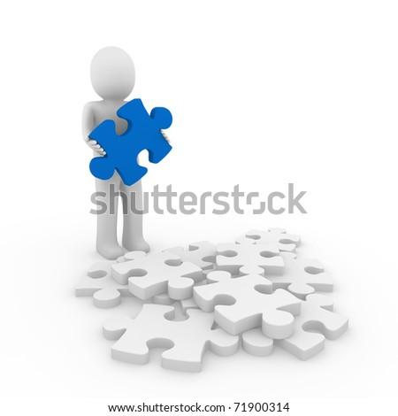 3d human puzzle blue business white success - stock photo