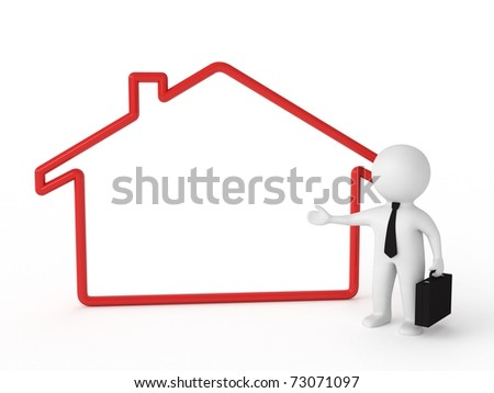 3d human - real estate agent with board - stock photo